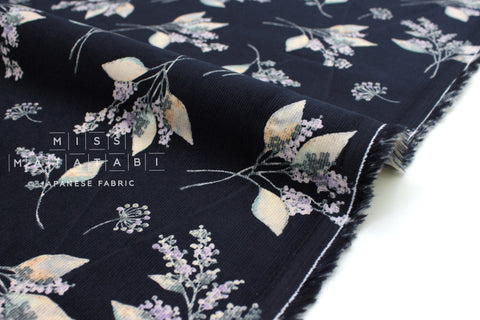 Japanese Fabric Corduroy Little Nature - navy blue - 50cm