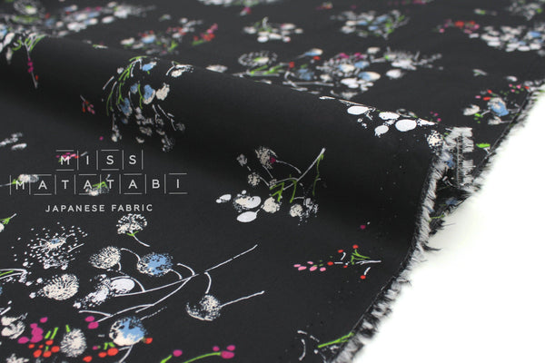 Japanese Fabric Scattered Floral cotton lawn - black - 50cm