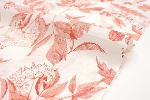 Japanese Fabric Sketched Leaves cotton lawn - clay orange - 50cm