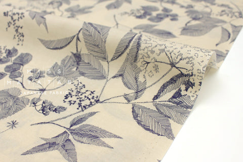 Japanese Fabric Sketched Leaves cotton lawn - taupe, navy - 50cm
