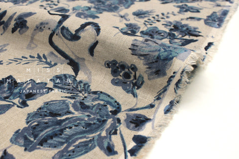 Japanese Fabric 100% Linen Tiger Lily - blue -  50cm