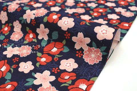 Japanese Fabric Japanese Flowers dobby - navy, red, peach pink - 50cm