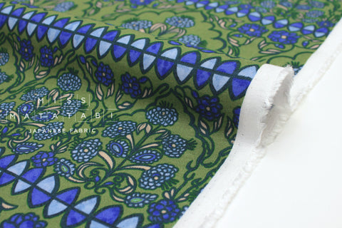Japanese Fabric Art Tiles rayon linen - green, blue, peach - 50cm