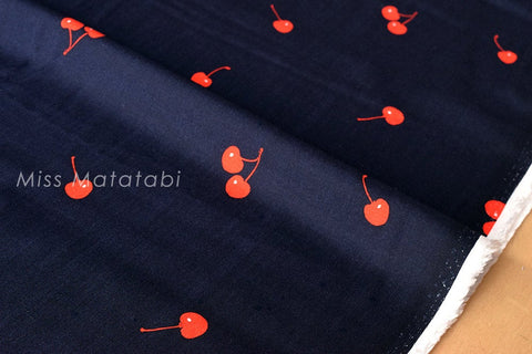 Cotton + Steel Fruit Dots rayon - Cherries - navy - 50cm