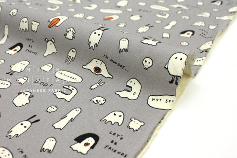 Japanese Fabric Hungry Ghosts canvas - grey -  50cm