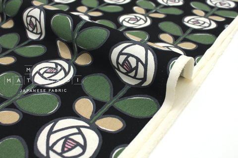 Japanese Fabric Roses canvas - black, green -  50cm