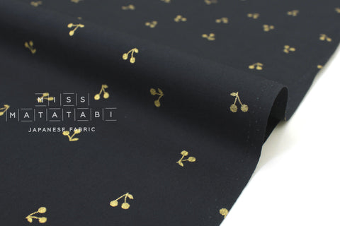 Japanese Fabric Kobayashi Cherries -  black, metallic gold - 50cm
