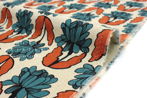 Japanese Fabric Wildflower - terracotta, teal - 50cm