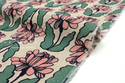 Japanese Fabric Wildflower - pink, green - 50cm