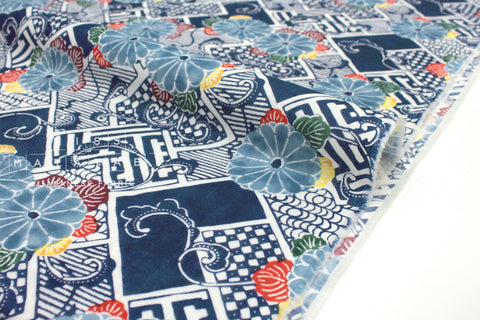 Japanese Fabric Kiku Double Gauze - blue - 50cm