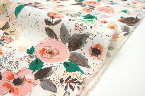 Japanese Fabric Watercolor Floral Rayon - peach, burnt orange, green - 50cm