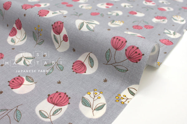 Japanese Fabric Nina Flower Stamps - grey - 50cm