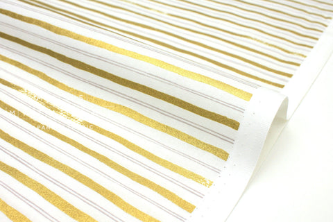 Cotton + Steel Meadow - stripes gold metallic - 50cm