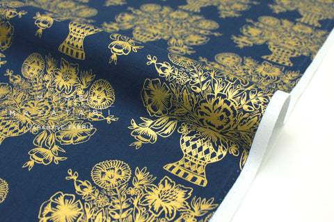 Cotton + Steel Meadow - vase block print, navy metallic gold  - fat quarter