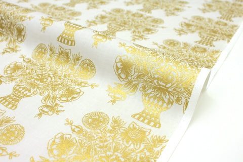 Cotton + Steel Meadow - vase block print, cream metallic gold  - fat quarter