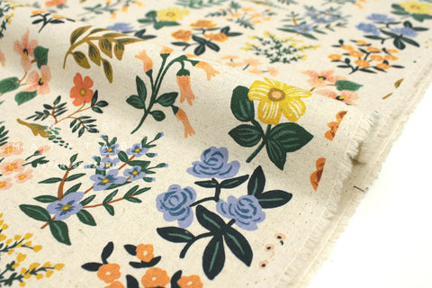 Cotton + Steel Meadow canvas - wildflower field natural - fat quarter