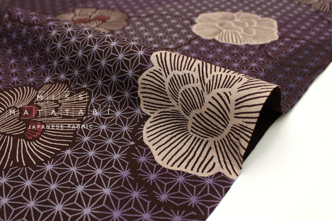 Japanese Fabric Asa No Ha Hana Mon Dobby - deep berry - 50cm