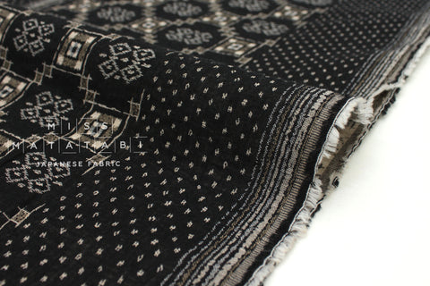 Japanese Fabric - Yarn Dyed Jacquard Woven Geo - black, latte - 50cm