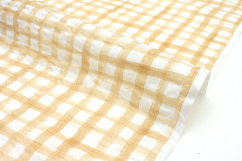 Japanese Fabric Seersucker Gingham lawn - sand - 50cm