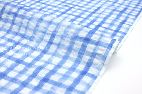 Japanese Fabric Seersucker Gingham lawn - sky blue - 50cm