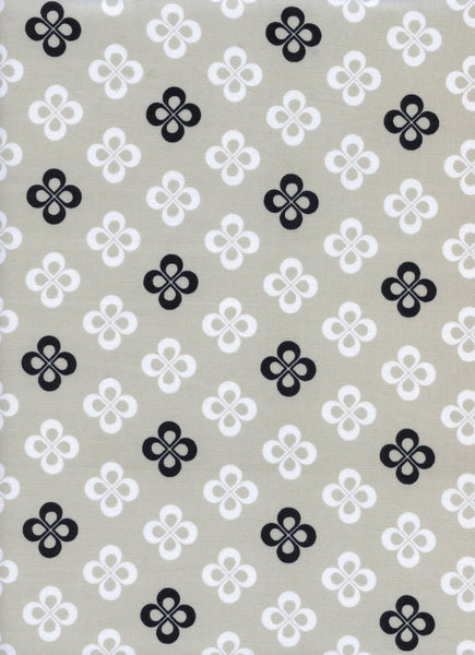 Cotton + Steel Black and White - clover black white - 50cm
