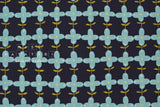 Japanese Fabric Kokka Scandinavian Flower - navy blue, blue - 50cm