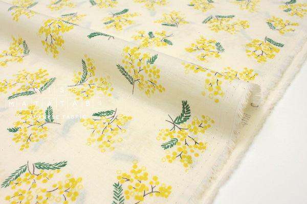Japanese Fabric Kokka Spring Flowers Voile - cream, yellow - 50cm