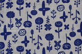 Japanese Fabric Kokka Trefle Simple Life Stamped Flowers - grey, blue - 50cm
