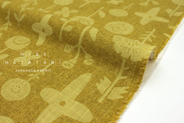 Japanese Fabric Kokka Trefle Simple Life Stamped Flowers - mustard - 50cm