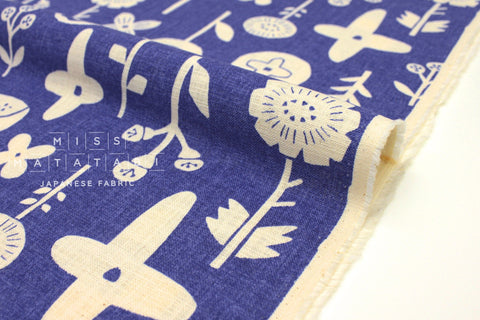Japanese Fabric Kokka Trefle Simple Life Stamped Flowers - blue - 50cm