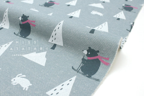 Japanese Fabric Kiyohara French Terry Fleece - snow bear - grey - 50cm