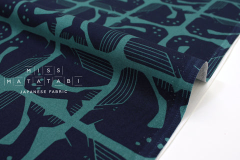 Japanese Fabric Cotton + Steel By The Seaside - Grumpy Whale navy teal - fat quarter