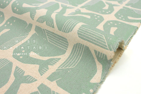 Japanese Fabric Cotton + Steel By The Seaside - Grumpy Whale Canvas aqua - fat quarter