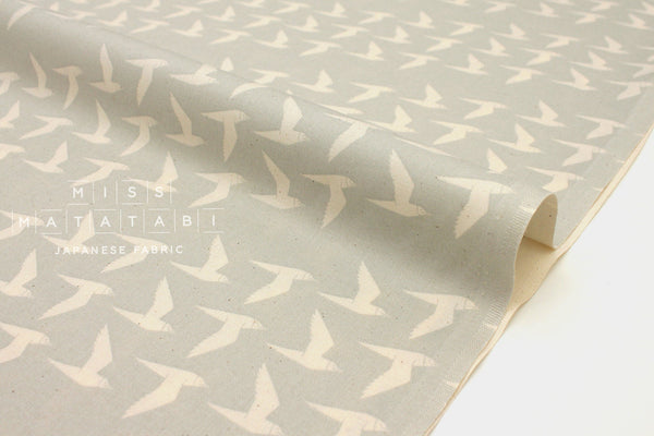 Japanese Fabric Cotton + Steel By The Seaside - Fly Along linen grey - 50cm