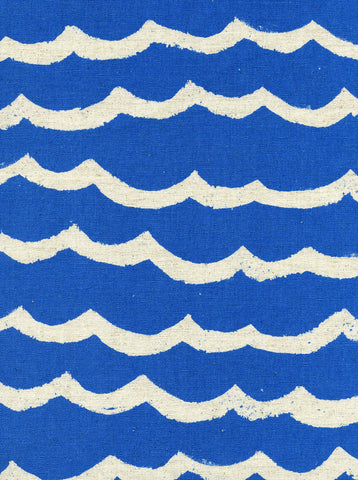 Cotton + Steel Kujira & Star canvas - waves blue sea - 50cm