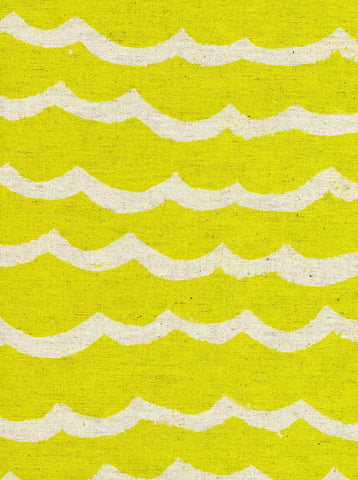 Cotton + Steel Kujira & Star canvas - waves citron - 50cm