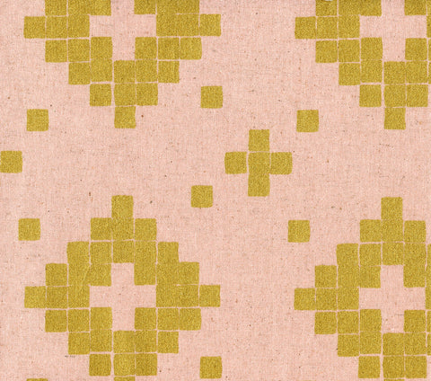 Cotton + Steel Mesa canvas - tile rose, metallic gold - 50cm