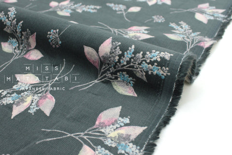 Japanese Fabric Corduroy Little Nature - grey - 50cm