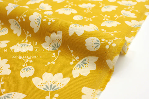 Japanese Fabric Corduroy Tulips - yellow - 50cm