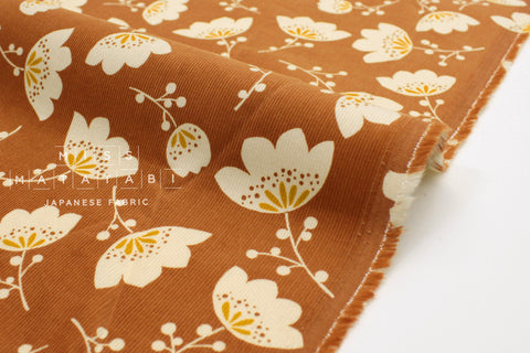 Japanese Fabric Corduroy Tulips - terracotta - 50cm