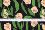 Japanese Fabric Spring Tulips - black, green, peach - 50cm