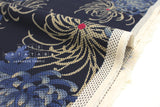 Japanese Fabric - sashiko embroidered cotton dobby - kiku - indigo blue - 50cm