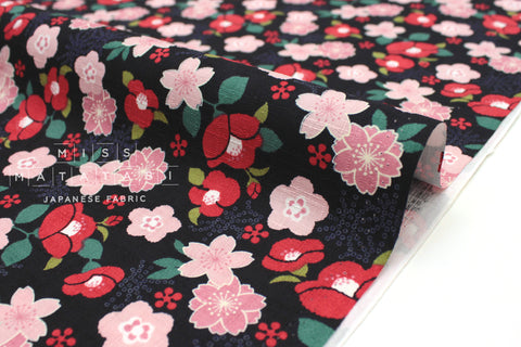 Japanese Fabric Japanese Flowers dobby - black, red, peach pink - 50cm