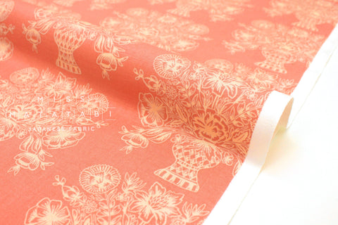 Cotton + Steel Meadow - vase block print, coral  - fat quarter