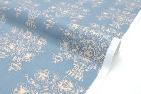 Cotton + Steel Meadow - vase block print, blue  - fat quarter