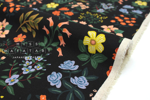 Cotton + Steel Meadow canvas - wildflower field black - 50cm