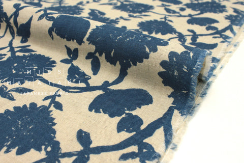 Japanese Fabric Floral Linen Double Gauze - blue, natural - 50cm