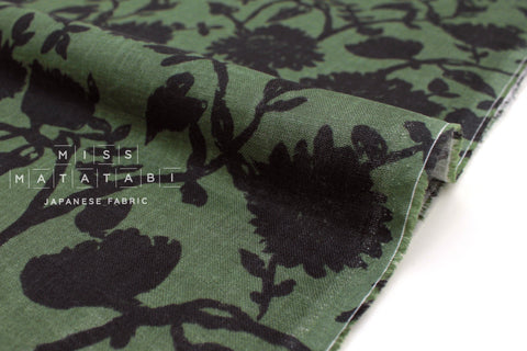 Japanese Fabric Floral Linen Double Gauze - green - 50cm