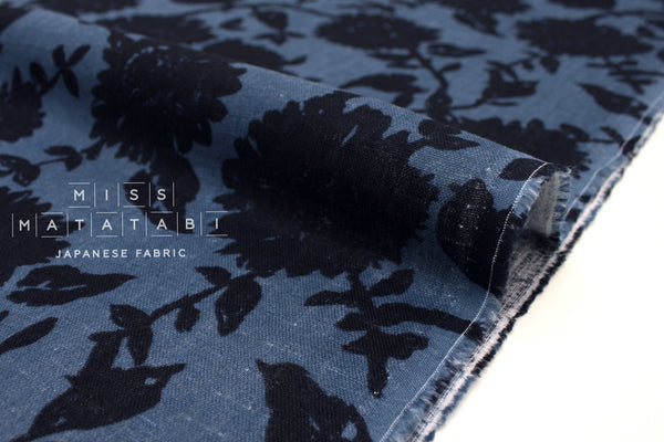 Japanese Fabric Floral Linen Double Gauze - black, blue - 50cm