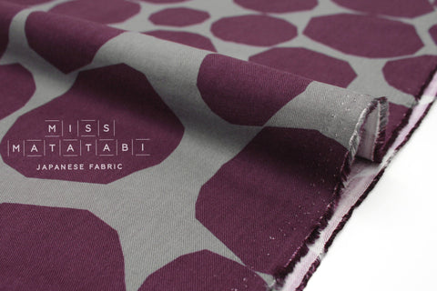 Japanese Fabric Rocks Brushed Rayon Twill - plum, grey - 50cm